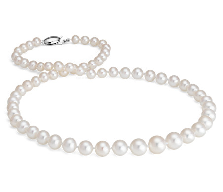 Freshwater Cultured Pearl Graduated Strand Necklace with 14k White Gold (5.5-9.5mm)