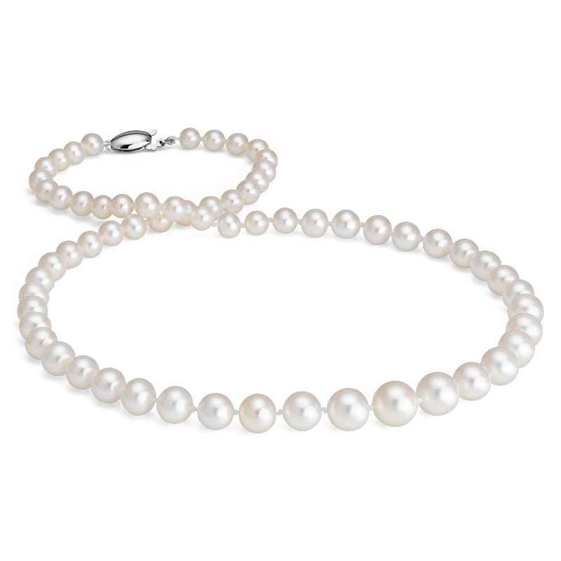 Freshwater Cultured Pearl Graduated Strand Necklace with 14k Whit
