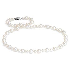 Collar de perlas cultivadas de agua dulce con forma de guirnalda en oro blanco de 14 k (5-7mm)