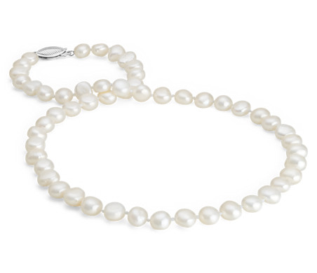 Baroque Freshwater Cultured Pearl Necklace in Sterling Silver (7.5mm)