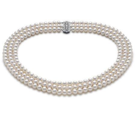 Triple-Strand Freshwater Cultured Pearl Strand Necklace in 14k White Gold (6mm)