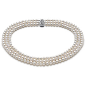 Triple-Strand Freshwater Cultured Pearl Necklace in 14k White Gold (6mm)
