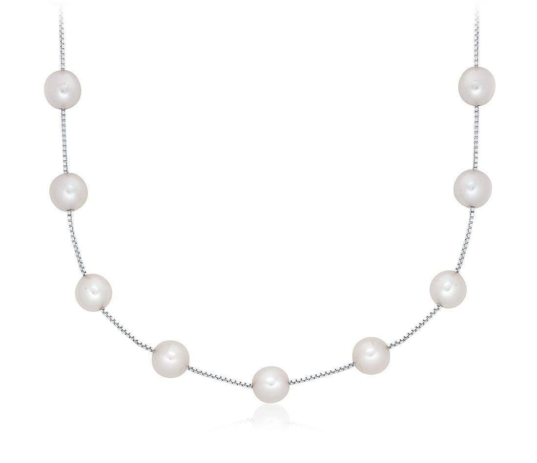 Freshwater Cultured Pearl Station Necklace in 14k White Gold