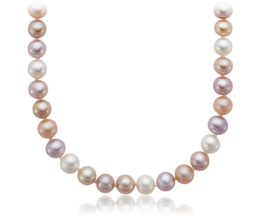 Multi-Colour Freshwater Cultured Pearl Necklace with Sterling Silver