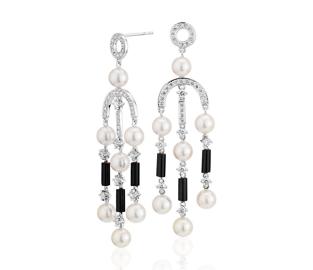Freshwater Cultured Pearl and Onyx Chandelier Drop Earrings in 18k ...