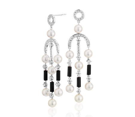 Freshwater cultured pearl and onyx chandelier drop earrings in 18k freshwater cultured pearl and onyx chandelier drop earrings in 18k white gold 55 6mm aloadofball Gallery