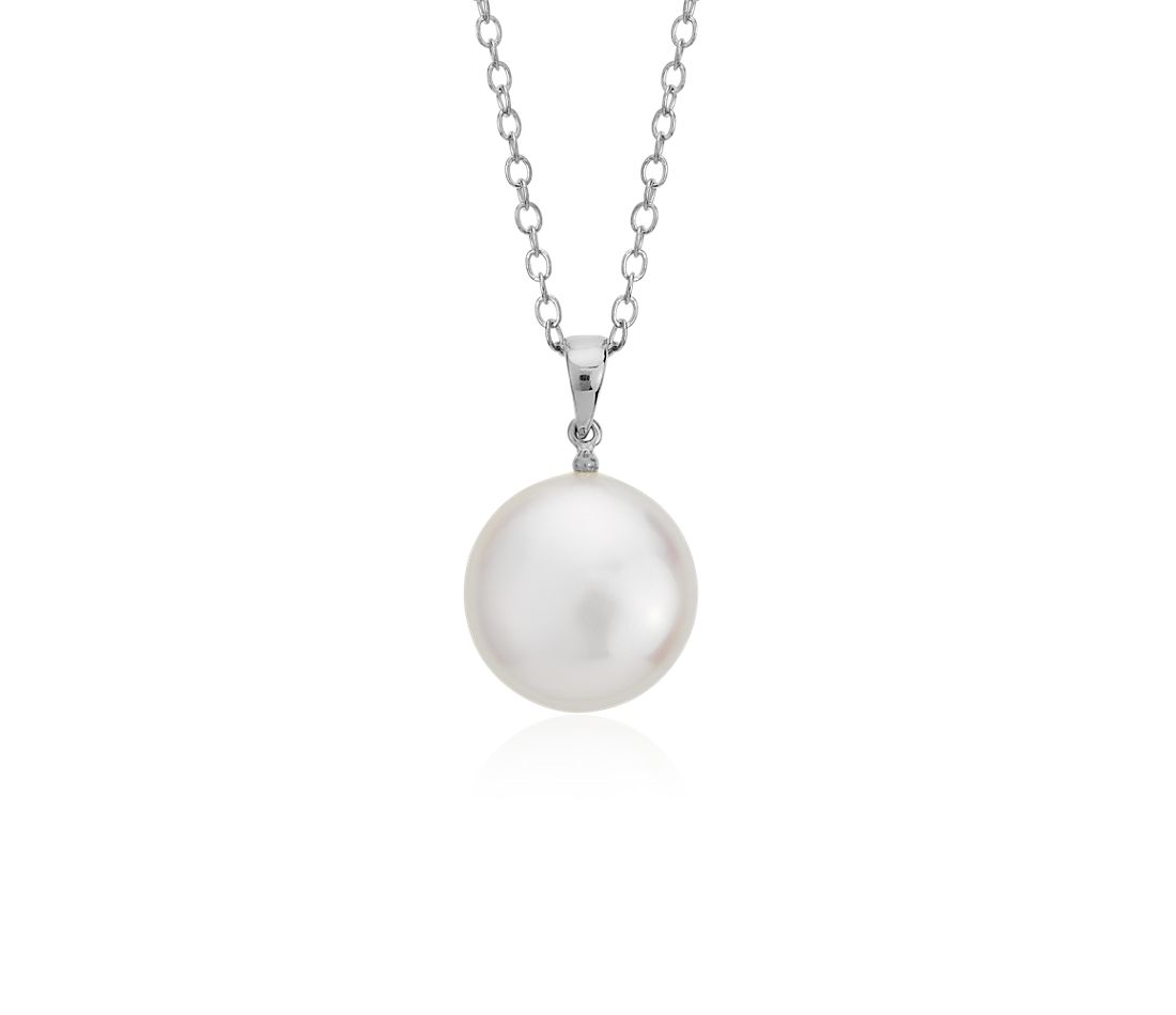 Freshwater Cultured Pearl Coin Pendant in Sterling Silver (12mm)