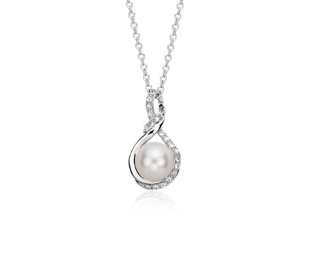 Blue Nile Freshwater Cultured Pearl Twisted Diamond Halo Pendant in 14k White Gold (7.5mm) Bjqg7H