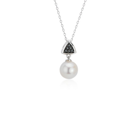 Freshwater Cultured Pearl Pendant with Black Diamond Triangle in 14k White Gold (7.5-8mm)