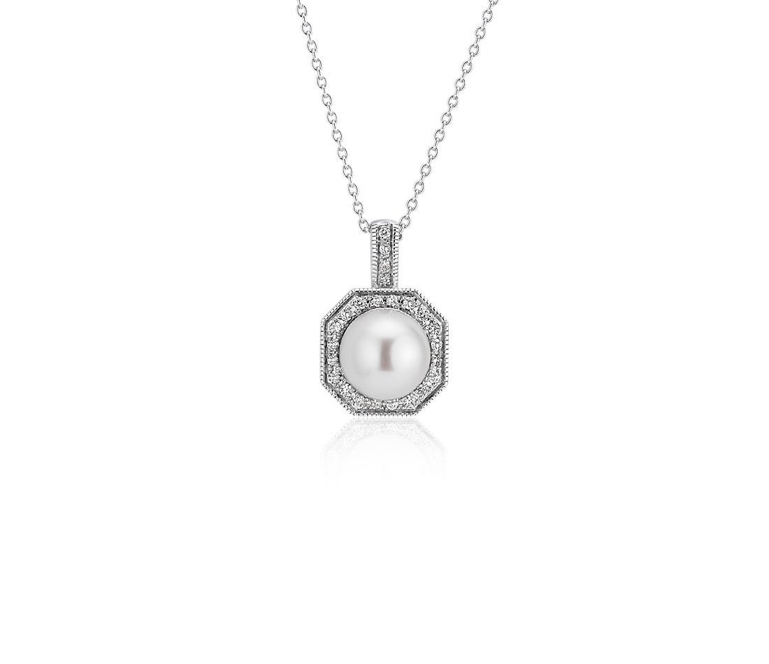 Freshwater Cultured Pearl Pendant with Diamond Hexagon Halo in 14k White Gold (7-8mm)