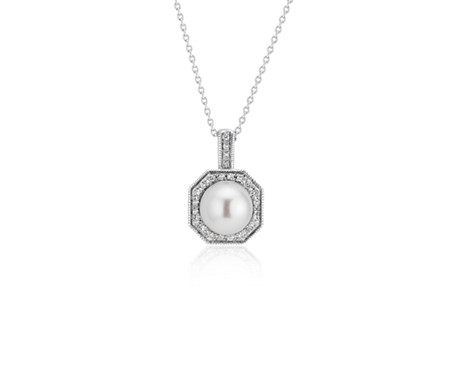 Pendentif perle de culture d'eau douce avec halo de diamants hexagonal en or blanc 14 carats (7-8 mm)