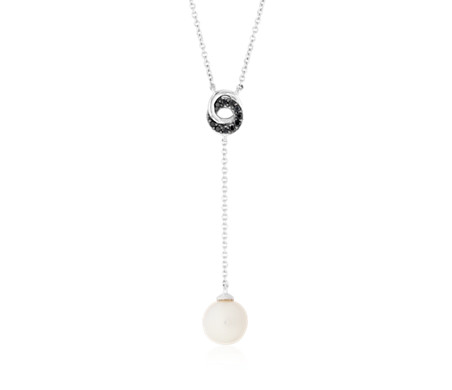 Freshwater Cultured Pearl Drop Pendant with Black Diamond Love Knot in 14k White Gold (7.5-8mm)