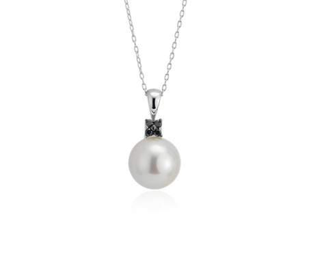 Freshwater Cultured Pearl Pendant with Mini Black Diamond Floral Detail in 14k White Gold (10-10.5mm)