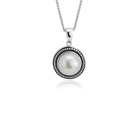 Blue Nile Freshwater Cultured Pearl Pendant with Rope Halo in Sterling Silver (9.5-10mm)