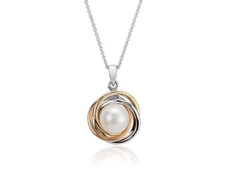 Pendentif tricolore nœud d'amour avec perles de culture d'eau douce en or blanc, jaune et rose de 14carats (7-8mm)