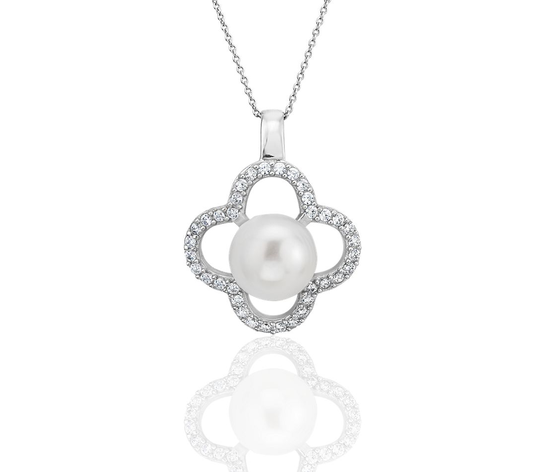 Freshwater Cultured Pearl Pendant with White Topaz Clover Halo in Sterling Silver (10-11mm)