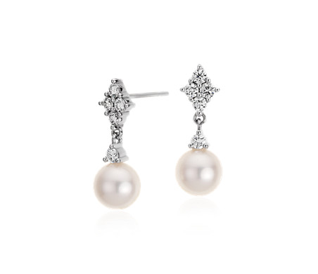 Freshwater Cultured Pearl and Diamond Drop Earrings in 14k White Gold (7mm)