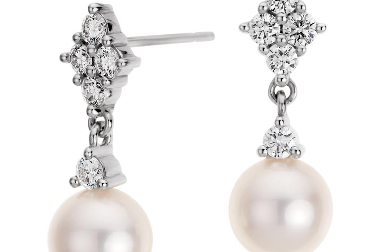 Boucles d'oreilles diamant et perle de culture d'eau douce en or blanc 14carats (7mm)