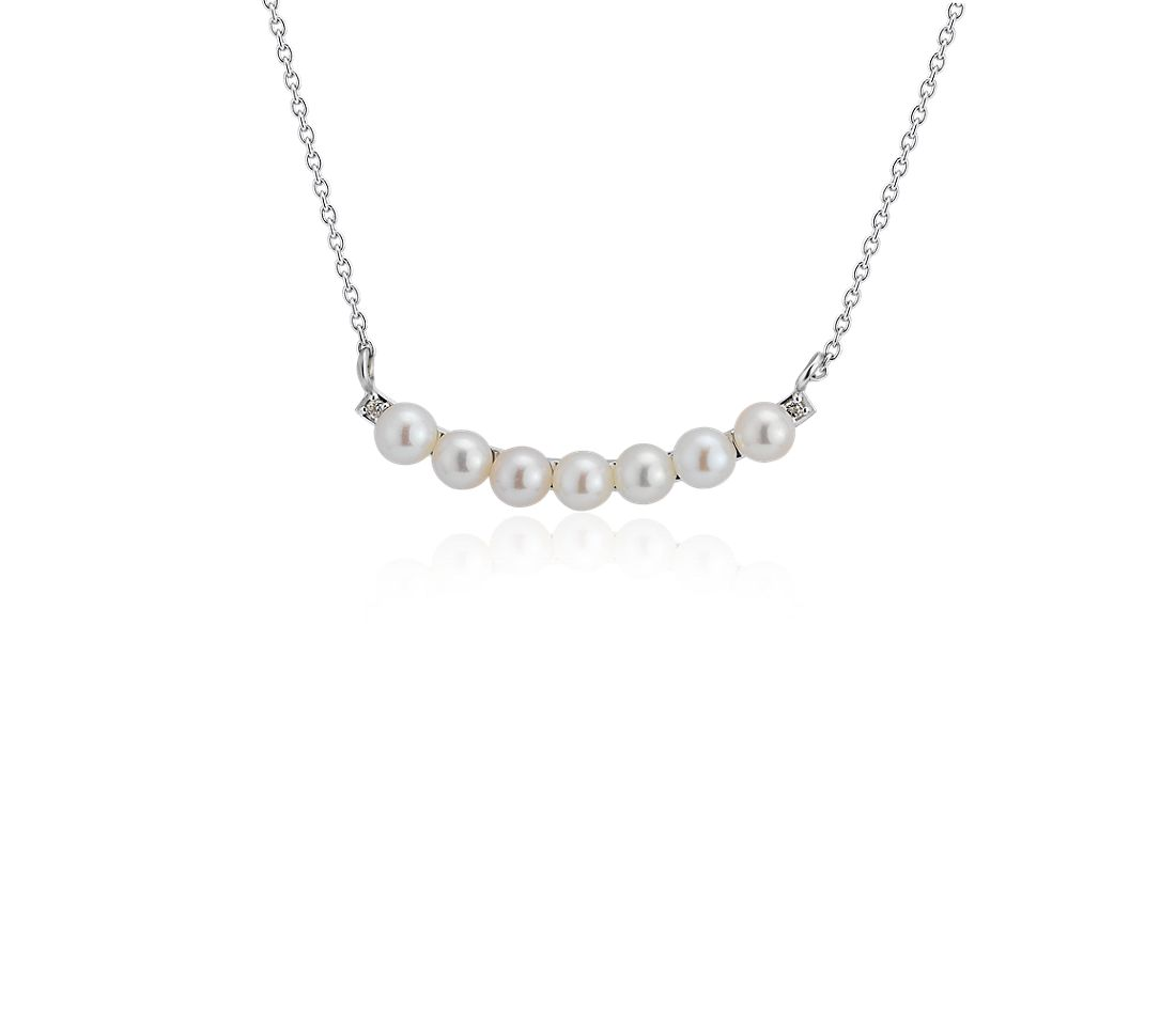 Petite Freshwater Cultured Pearl Smile Necklace in Sterling Silver (3-4mm)