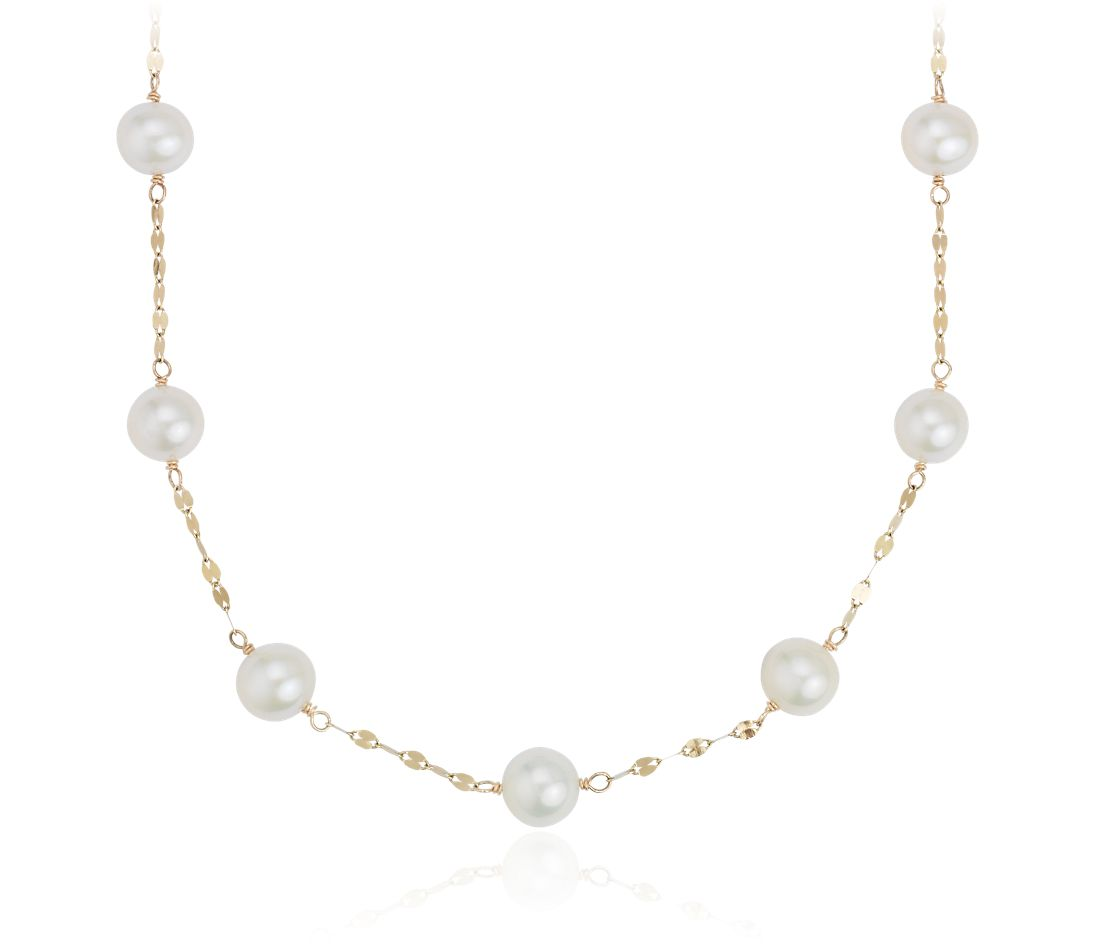 Freshwater Cultured Pearl Station Necklace In 14k Yellow Gold (758mm)