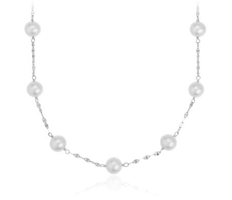 Freshwater Cultured Pearl Station Necklace in 14k White Gold (7.5-8mm)