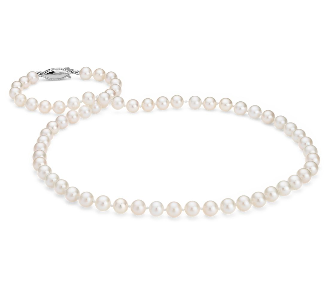 Freshwater Cultured Pearl Strand with 14k White Gold (6-6.5mm)