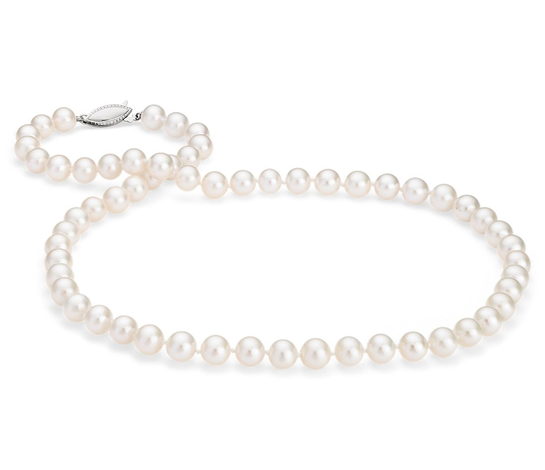 Freshwater Cultured Pearl Strand with 14k White Gold (7.0-7.5mm)