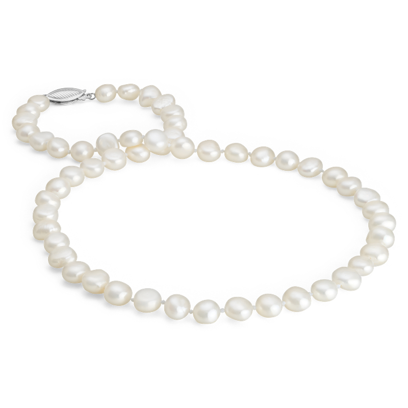 Baroque Freshwater Cultured Pearl Necklace in Sterling Silver (7.