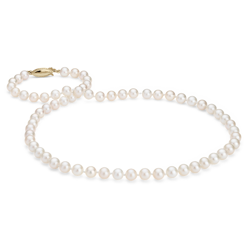 Freshwater Cultured Pearl Strand with 14k Yellow Gold (6-6.5mm)