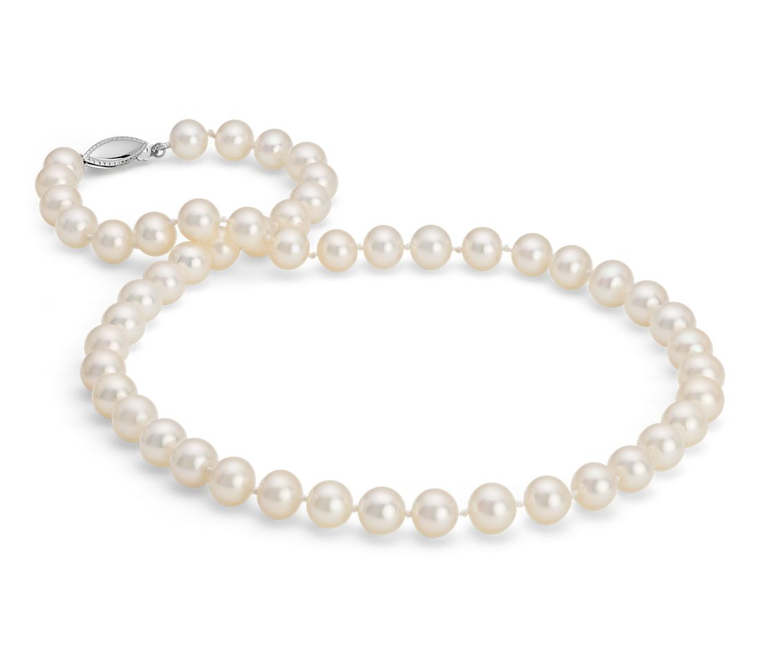 Collier en perles de culture d'eau douce en or blanc 14 carats (8,0-8,5 mm)