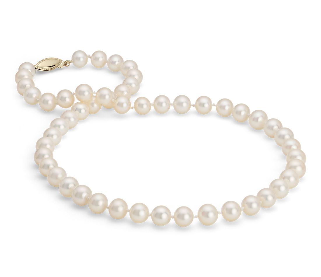 Freshwater Cultured Pearl Strand Necklace in 14k Yellow Gold (8.0-8.5mm)