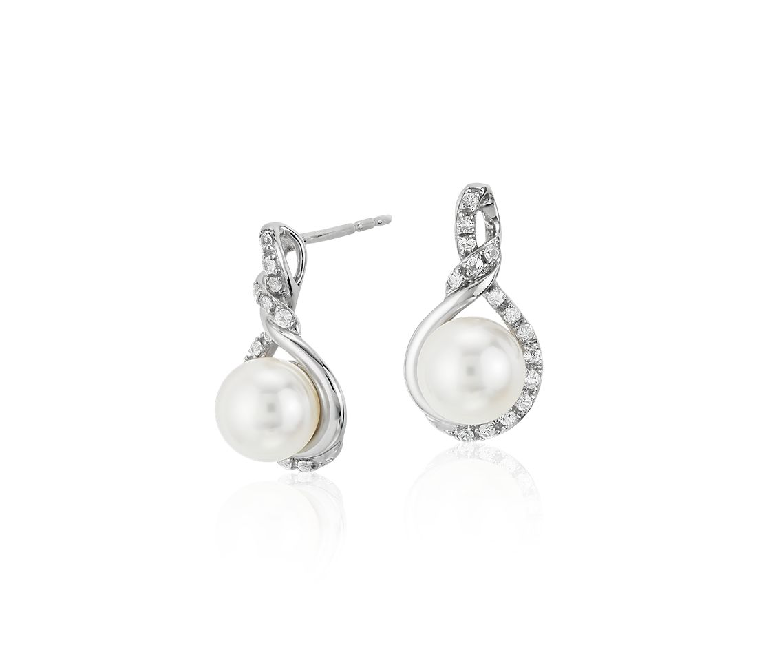 Freshwater Cultured Pearl and White Sapphire Stud Earrings in 14k White Gold (6.5mm)