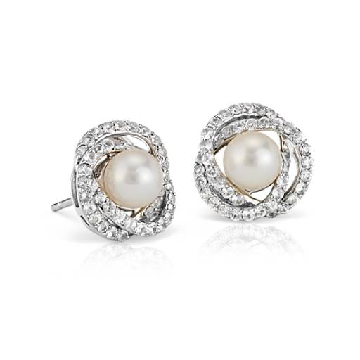 Freshwater Cultured Pearl And White Sapphire Stud Earrings