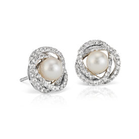 Freshwater Cultured Pearl and White Sapphire Stud Earrings in 14k White Gold (6mm)