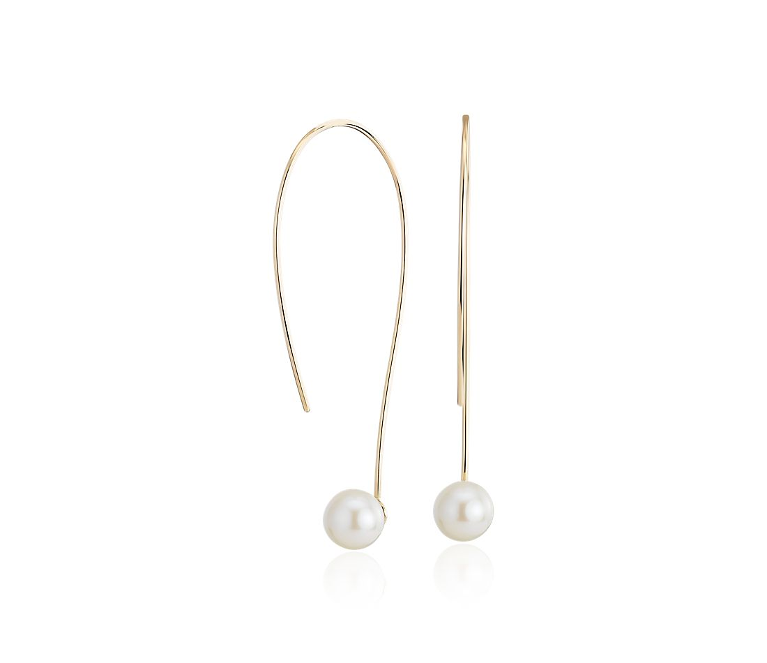 Front-Back Freshwater Cultured Pearl Threader Earring in 14k Yellow Gold (5-6mm)