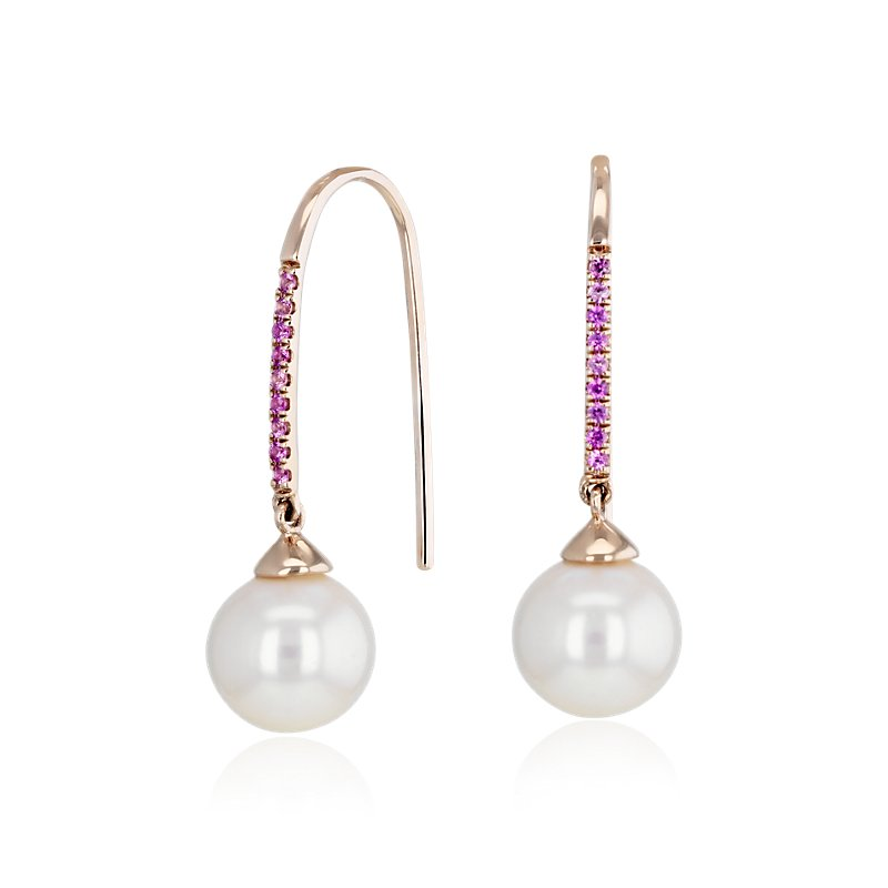Freshwater Cultured Pearl Threader Earrings with Pink Sapphire in