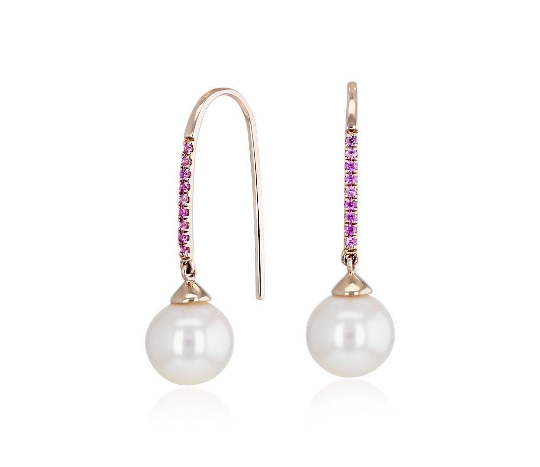 Freshwater Cultured Pearl Threader Earrings with Pink Sapphire in 14k Rose Gold (8-8.5mm)
