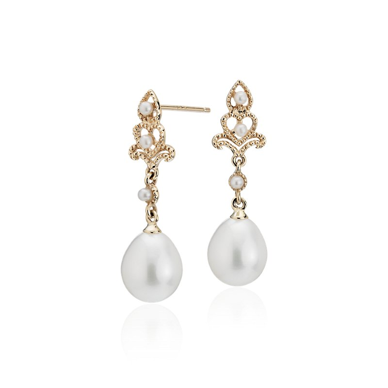 Freshwater Cultured Pearl Vintage-Inspired Drop Earrings in 14k Y