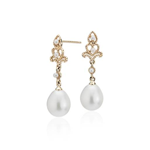 Freshwater Cultured Pearl Vintage Inspired Drop Earrings In 14k Yellow Gold 7 5mm