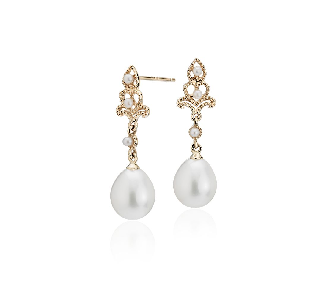 Freshwater Cultured Pearl Vintage Inspired Drop Earrings In 14k Yellow Gold 7 5