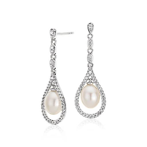 Blue Nile Freshwater Cultured Pearl and Mother of Pearl Drop Earrings in Sterling Silver (9-10mm) bnUkV