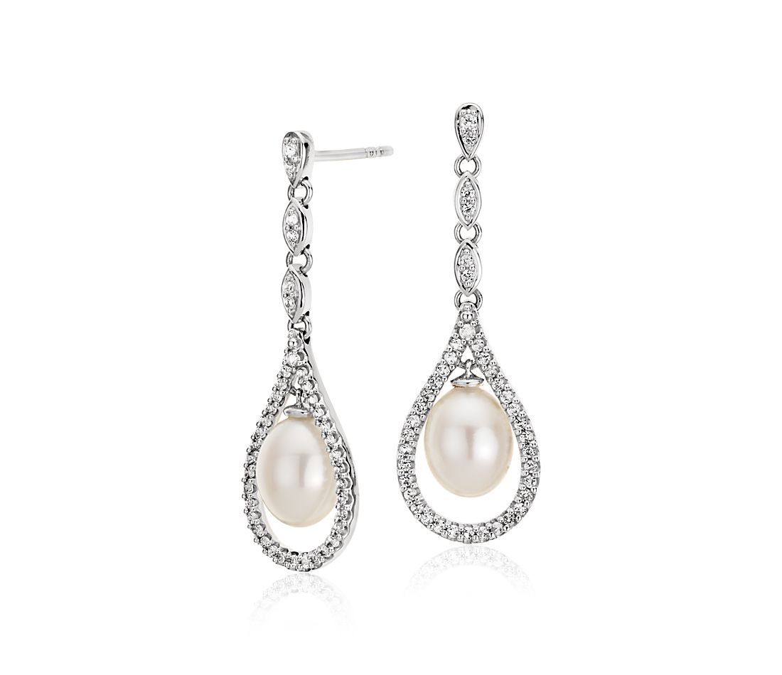 Vintage-Inspired Freshwater Cultured Pearl and White Topaz Drop Earrings in Sterling Silver (6-7mm)