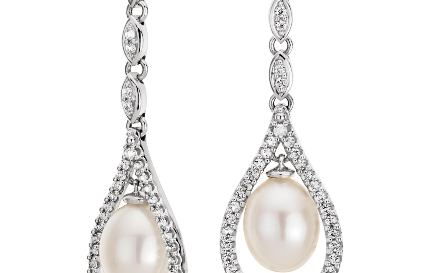 Boucles d'oreilles topaze blanche et perles de culture d'eau douce d'inspiration vintage en argent sterling (6-7mm)
