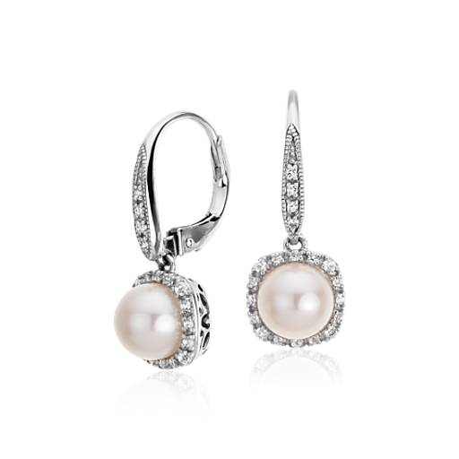 Freshwater Cultured Pearl And White Topaz Drop Earrings In