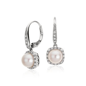 Freshwater Cultured Pearl and White Topaz Earrings in Sterling Silver (7mm)