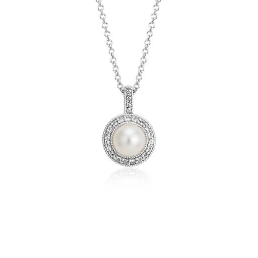 Blue Nile Freshwater Pearl Drop Pendant with Mother of Pearl Quartz Doublet and White Topaz Halo in Sterling Silver (9-10mm) szqBi