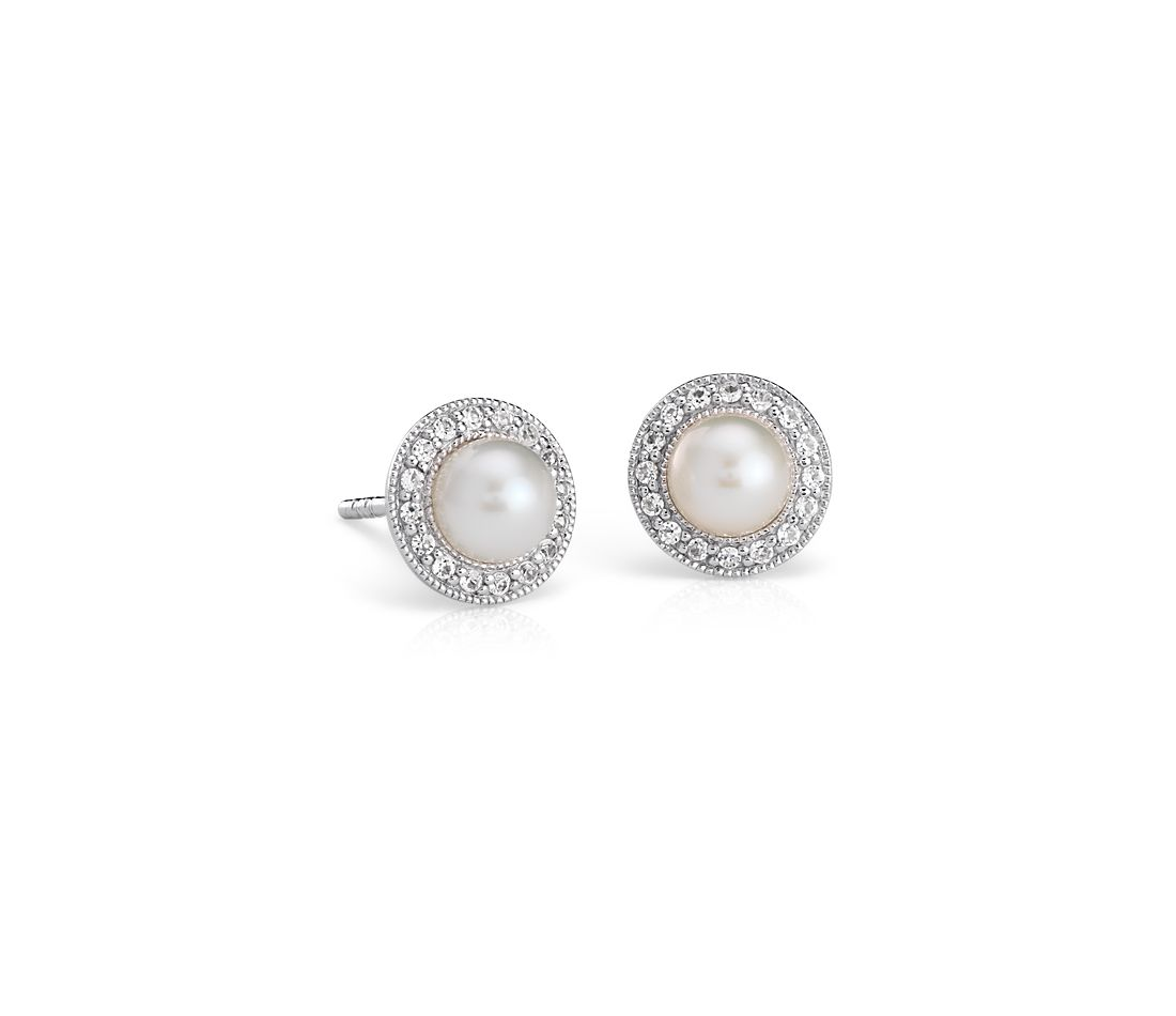 Vintage-Inspired Freshwater Cultured Pearl and White Topaz Halo Earrings in Sterling Silver (5mm)