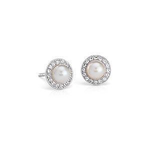 Boucles d'oreilles halo topaze blanche et perles de culture d'eau douce d'inspiration vintage en argent sterling (5mm)
