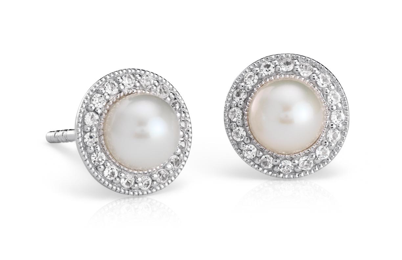 Aretes vintage con topacio blanco y perlas cultivadas de agua dulce en plata de ley (5mm)