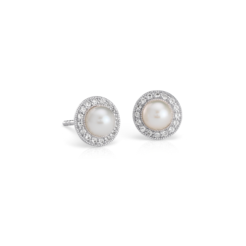 Vintage-Inspired Freshwater Cultured Pearl and White Topaz Halo E